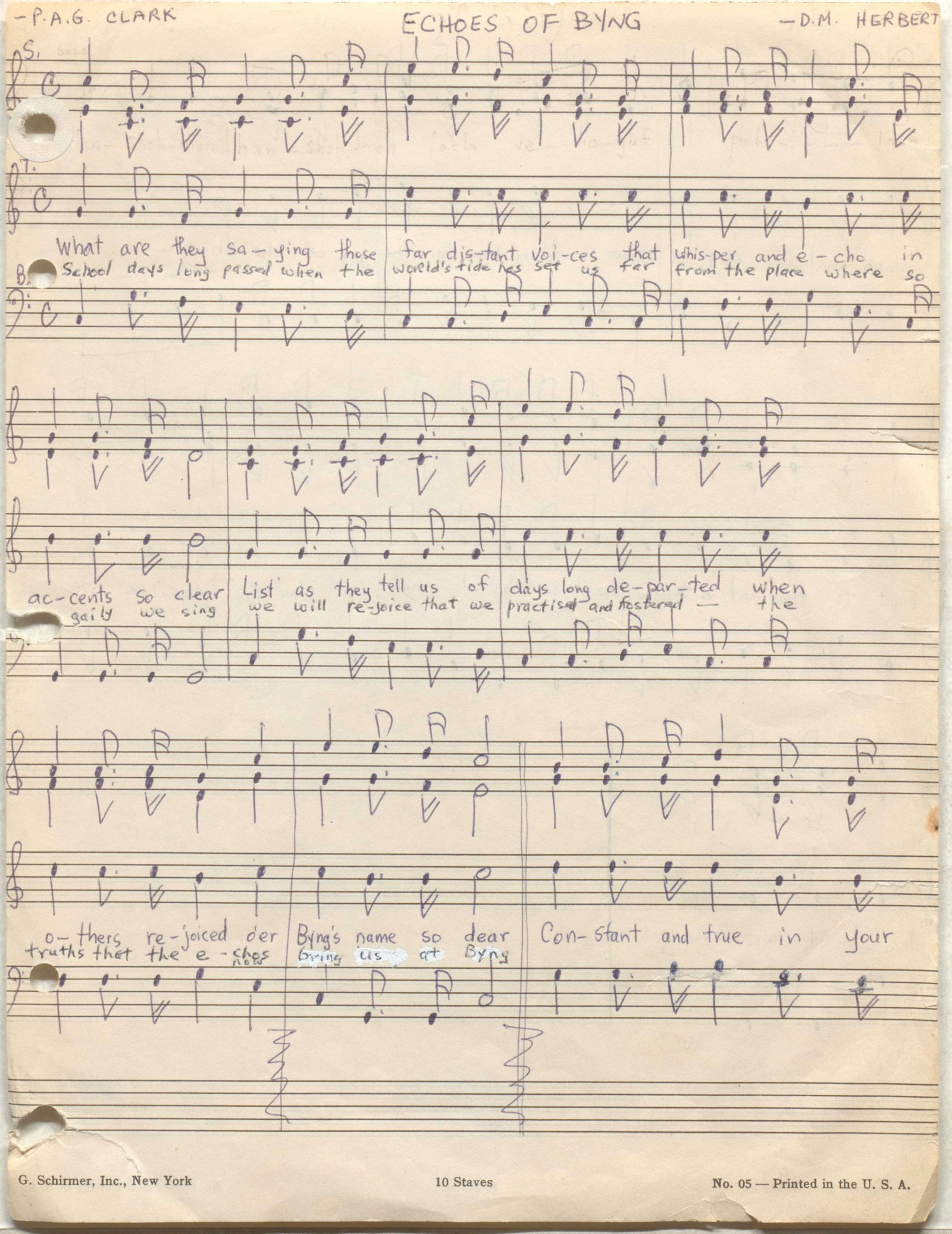 "Original score, ""Echoes of Byng"" ca. 1930"